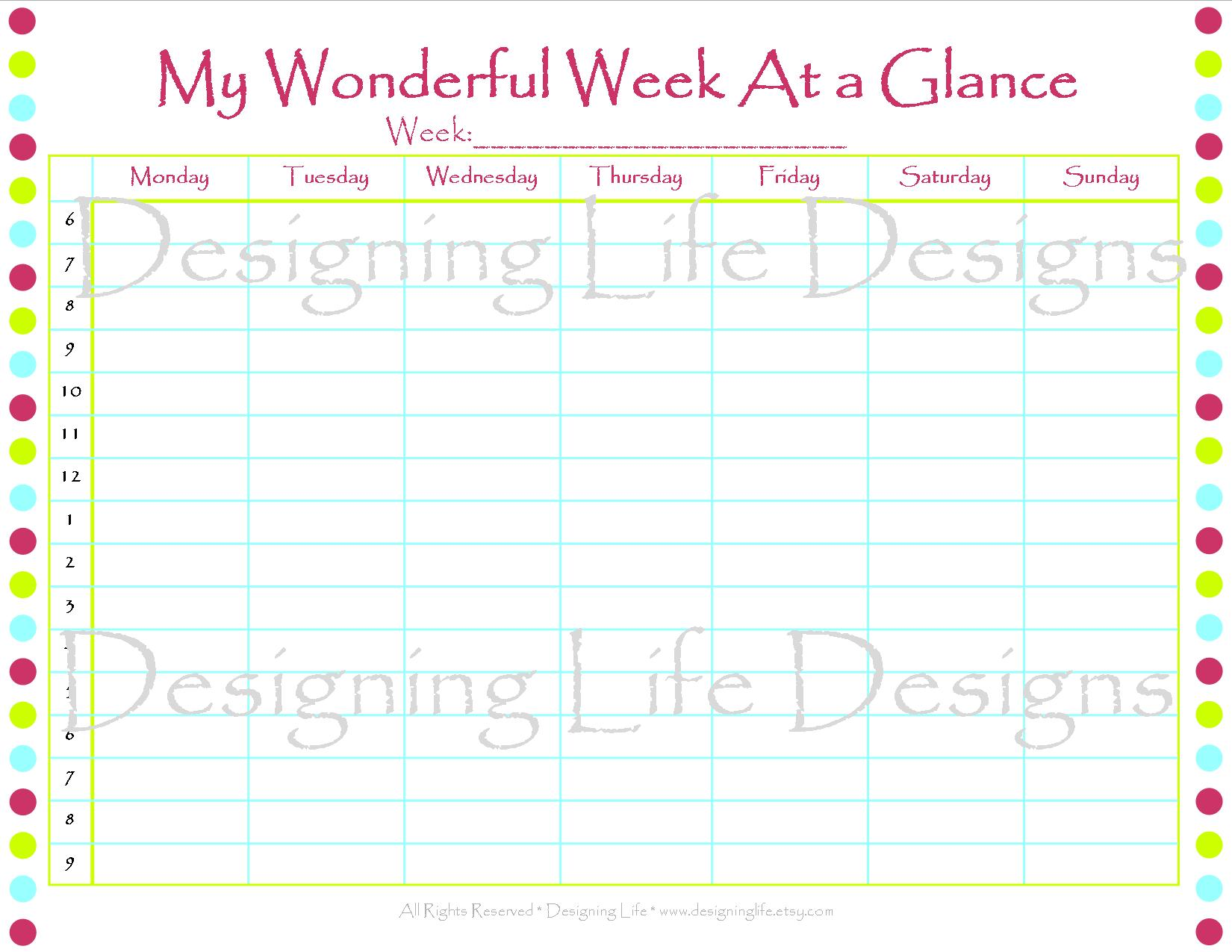 2017 Calendar Template Year At A Glance Week Daily Appointment
