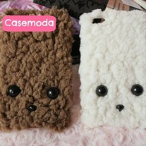 New Cute Plush Wool Puppy Dog Face iPhone Case Cover
