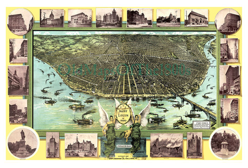 St louis missouri in 1896 bird 39 s eye view map aerial for Craft stores st louis