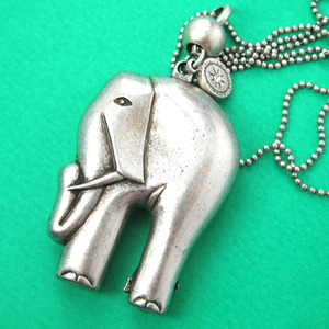 3D Elephant Charm Animal Jewelry Necklace in Silver