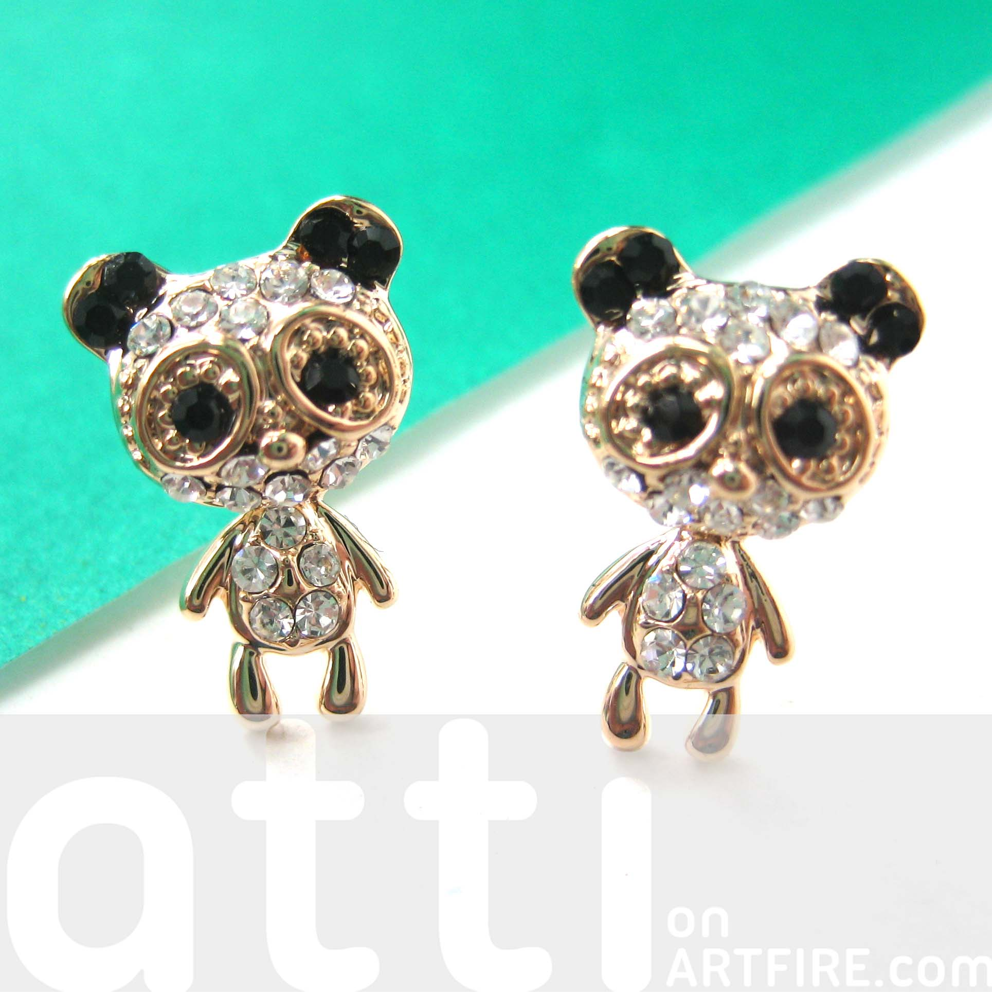 Panda Teddy Bear Animal Stud Earrings with Moving Bodies in Gold ...