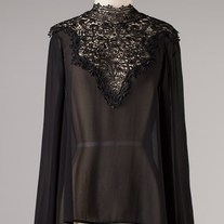 Black L/S Sheer Chiffon Top Crochet Lace Neckline Open Back Tie SML