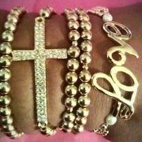 Gold Beaded Cross & Love Stack Bracelets