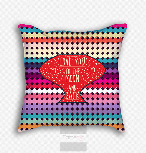 Large Throw Pillow Patterns : Decorative Throw Pillow. Decorative Colorful Love You to the Moon and Back Pattern Pillow Cover ...