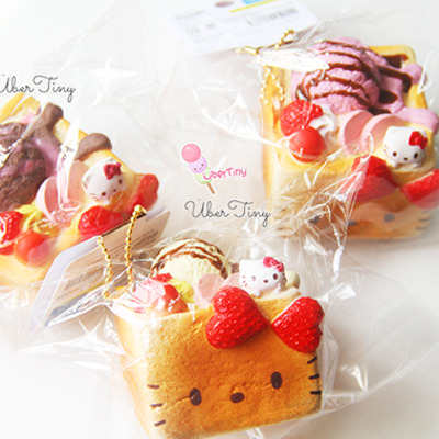 Hello kitty lovely sweets toast squishy with icecream scoop & strawberries