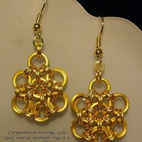 Gold Chrysanthimum Earrings