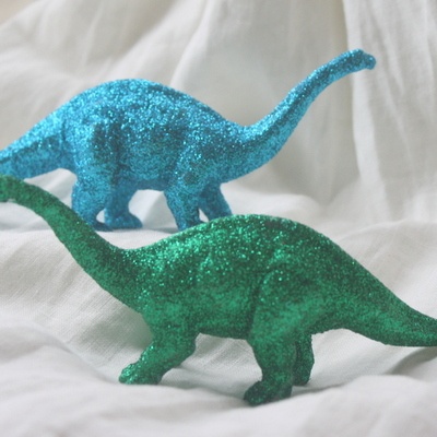 Glittered dinosaur figurines - home decor - repurposed figurines - party or shower decor - unique gift