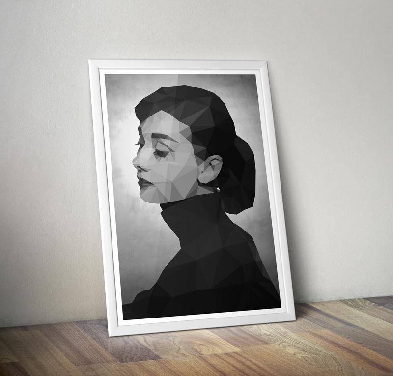 Audrey Hepburn Geometric Poster · GeekyPrints · Online Store Powered ...