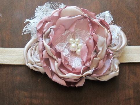 Soft Rose and Gold Glamour headband by Pearls n' Pink Boutique