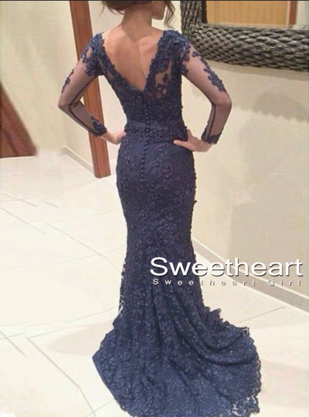 Sweetheart Girl | Custom Made Deep Blue Lace Backless Prom Dresses ...
