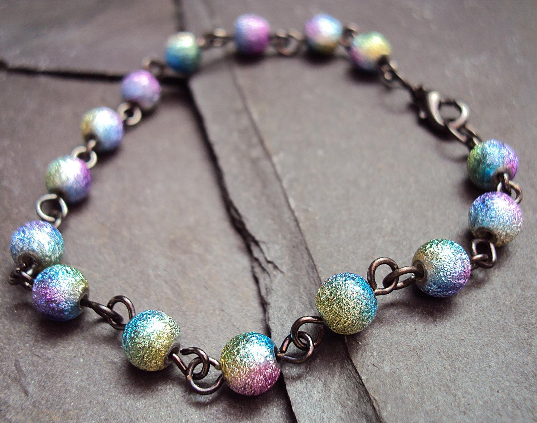 Rainbow Bead Bracelet ~ Metal Bead Bracelet ~ Indie Bracelet ...