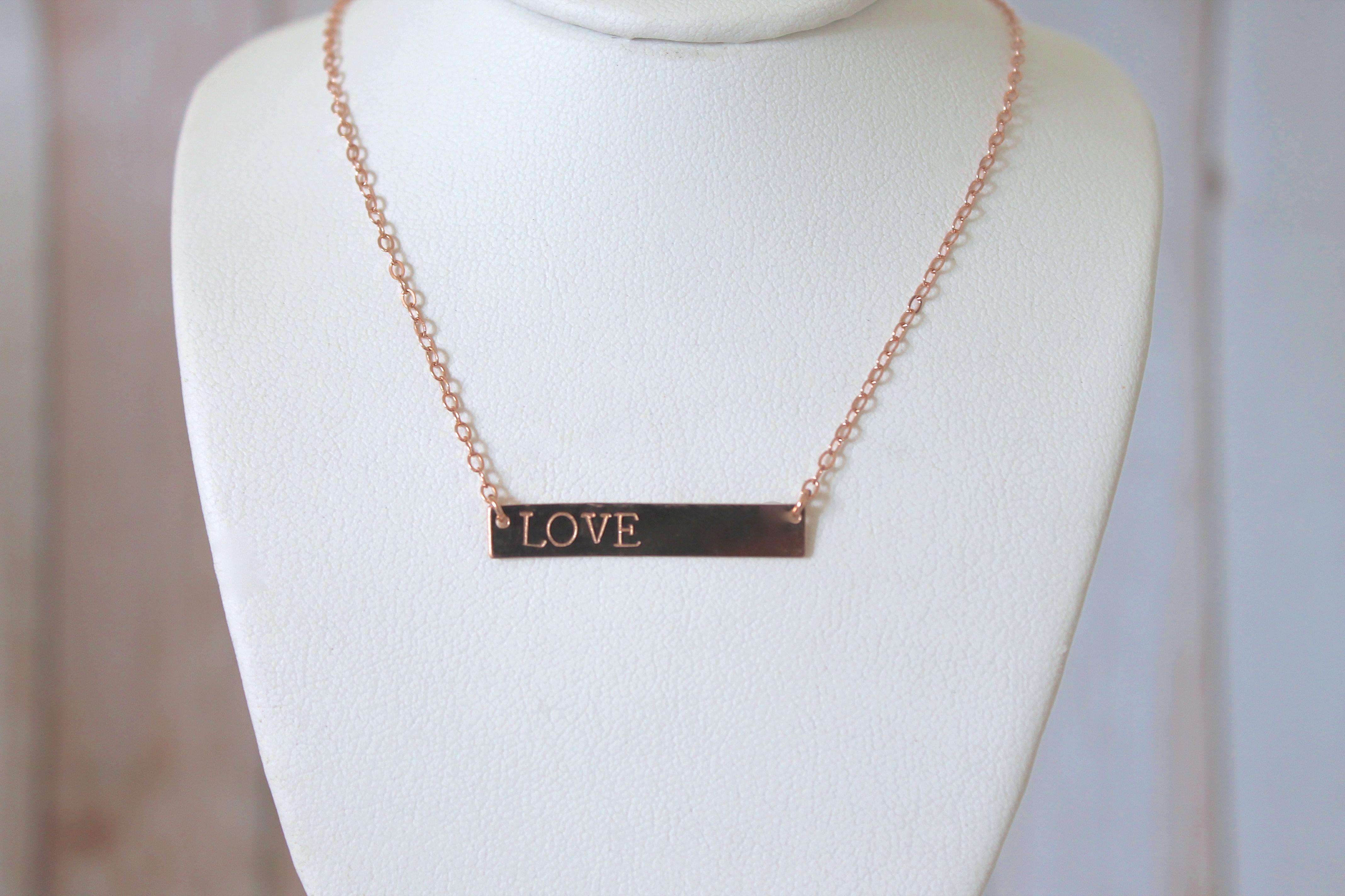 Rose gold handstamped personalized bar necklace on storenvy for Rose gold personalized jewelry