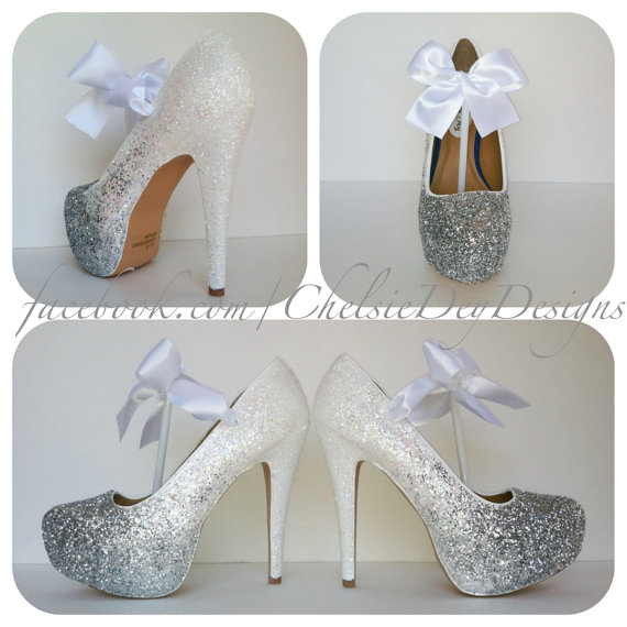 White Glitter High Heels, Silver Iridescent Ombre Platform Pumps, Wedding  Shoes