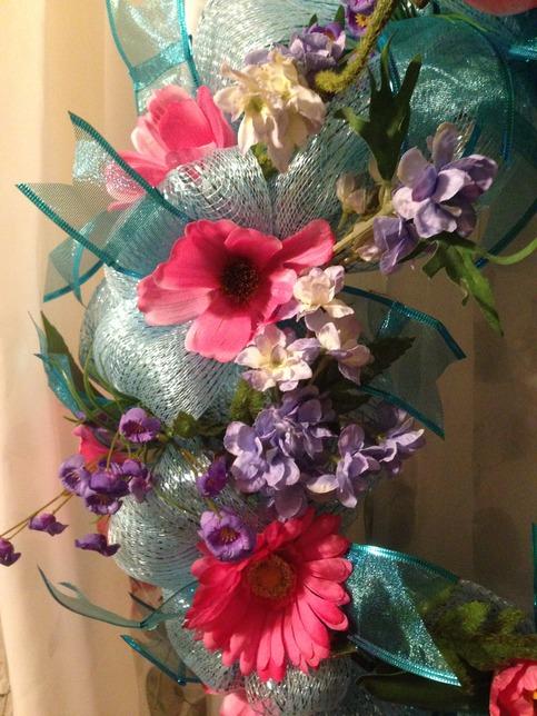 Spring In Bloom Wreath Deco Mesh Blue Storm Door Flower