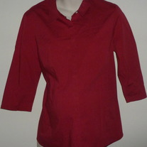 Maroon 3/4 Sleeve Length Top with Buttons/Collar-Mimi Maternity Size Large