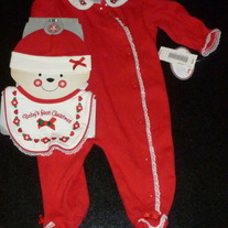 Baby's First Christmas Outfit with Matching Hat and Bib-NEW-Babyworks Size 3-6 Months