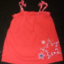 Red Spaghetti Strap Shirt with Stars-Jumping Beans Size 4T