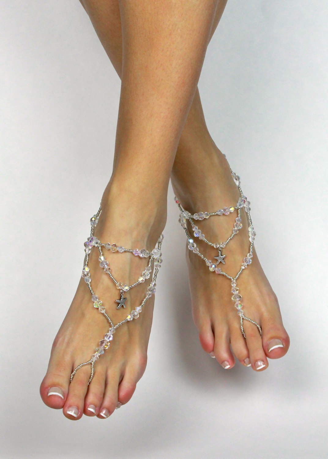 ae1cfe583e5 Swarovski Starfish Barefoot Sandals Foot Jewelry Beach Wedding Sandals  Anklet for Bride Wedding Foot Jewelry Beach