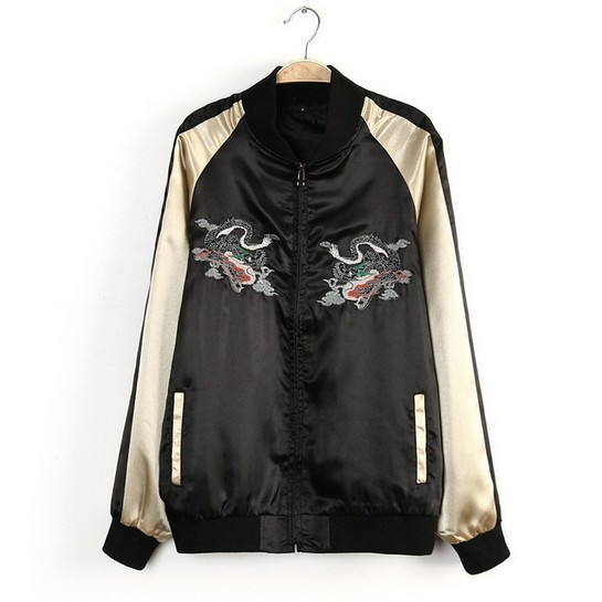 XS S M black light gold satin sukajan deliquent school girl ...