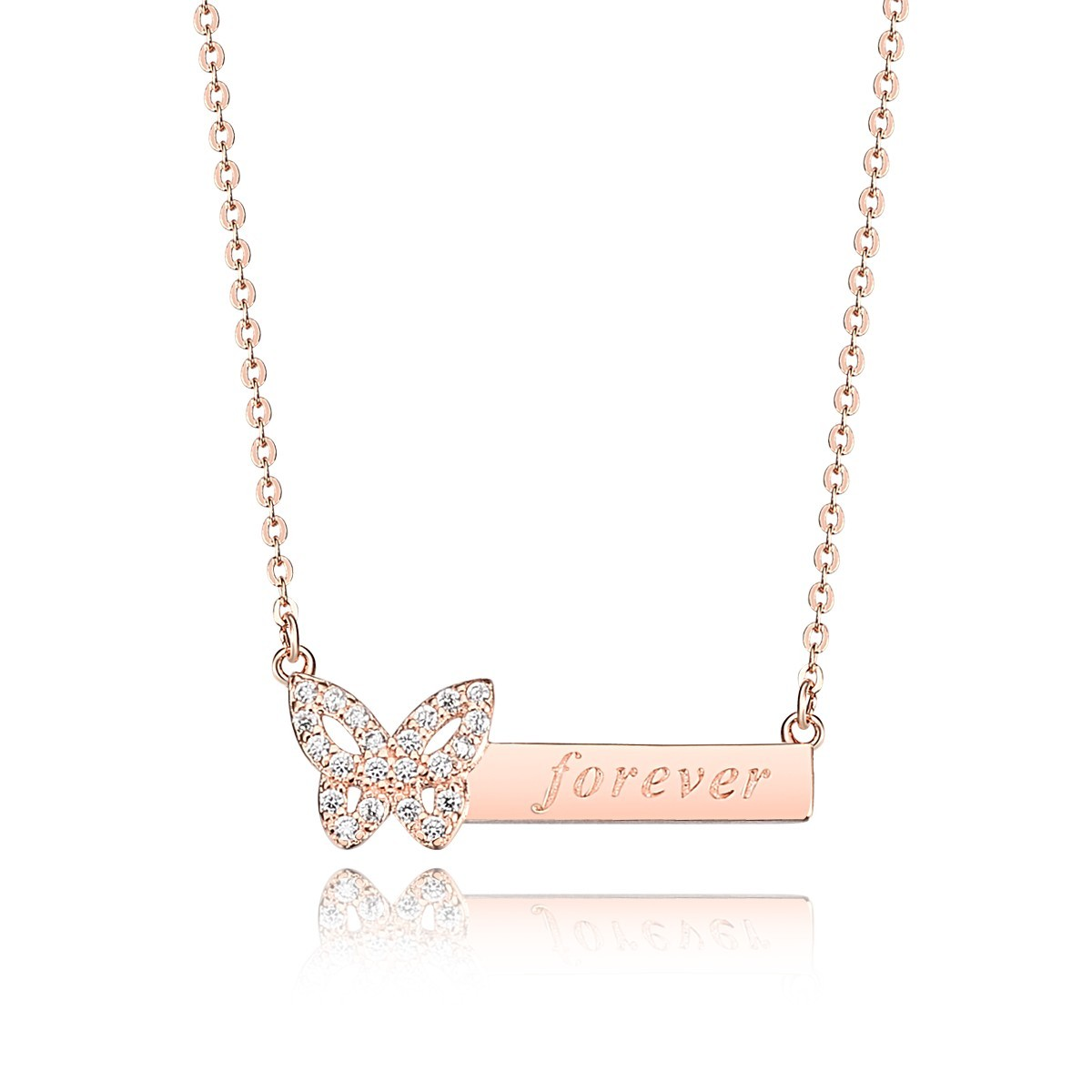 Sterling silver rose gold plated diamante butterfly engrave sterling silver rose gold plated diamante butterfly engrave forever word pendant necklace jewelry aloadofball Choice Image
