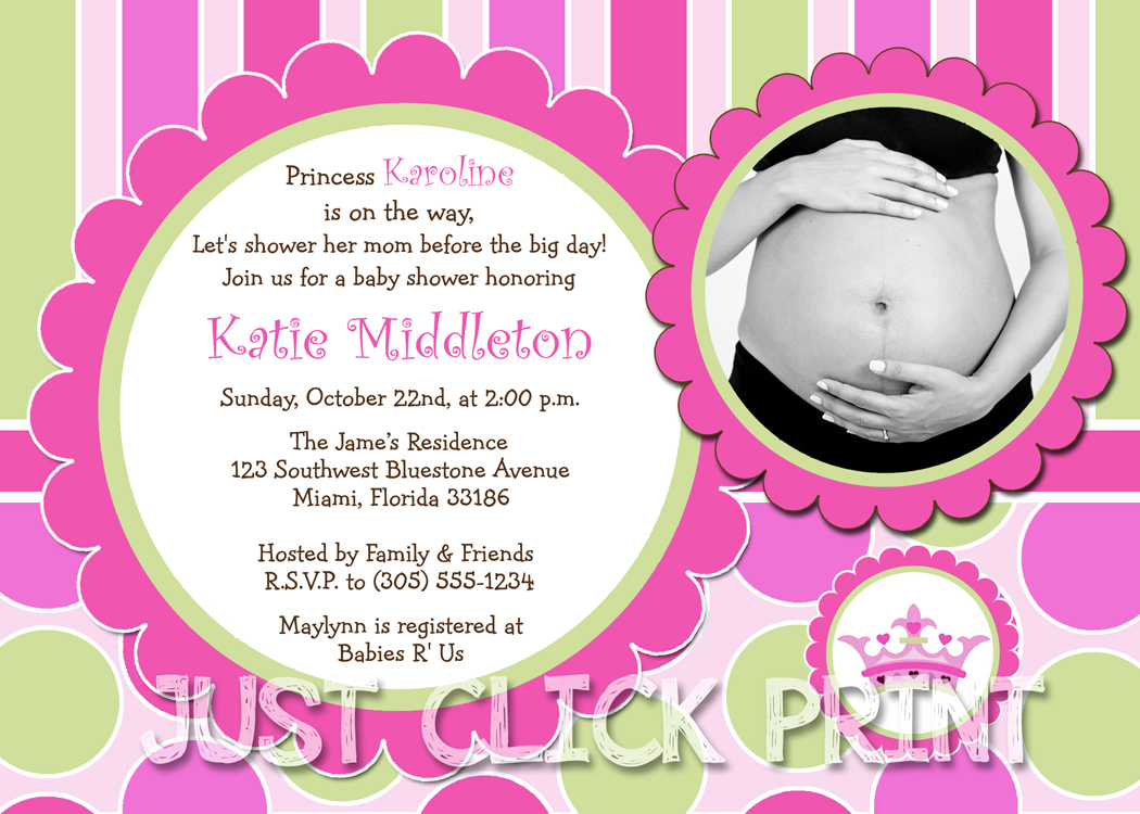 Little Princess Baby Girl Shower Invitation Printable Just Click