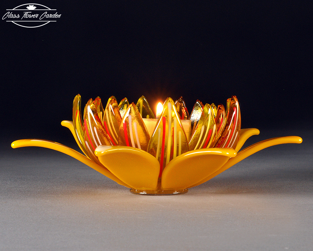 Yellow translucent open lotus candle holder glass flower garden yellow translucent open lotus candle holder izmirmasajfo Gallery