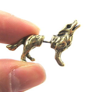 3D Fake Gauge Realistic Wolf Dog Animal Stud Earrings in Bronze