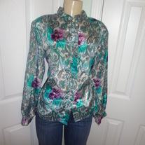 Vintage Plus Size Flower Blouse Size 16!