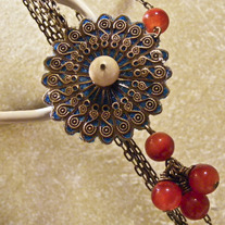 Teal Lantern Filigree, Alabaster, & Carnelian Necklace