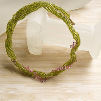 Pink Flowers in the Moss Memory Wire Necklace
