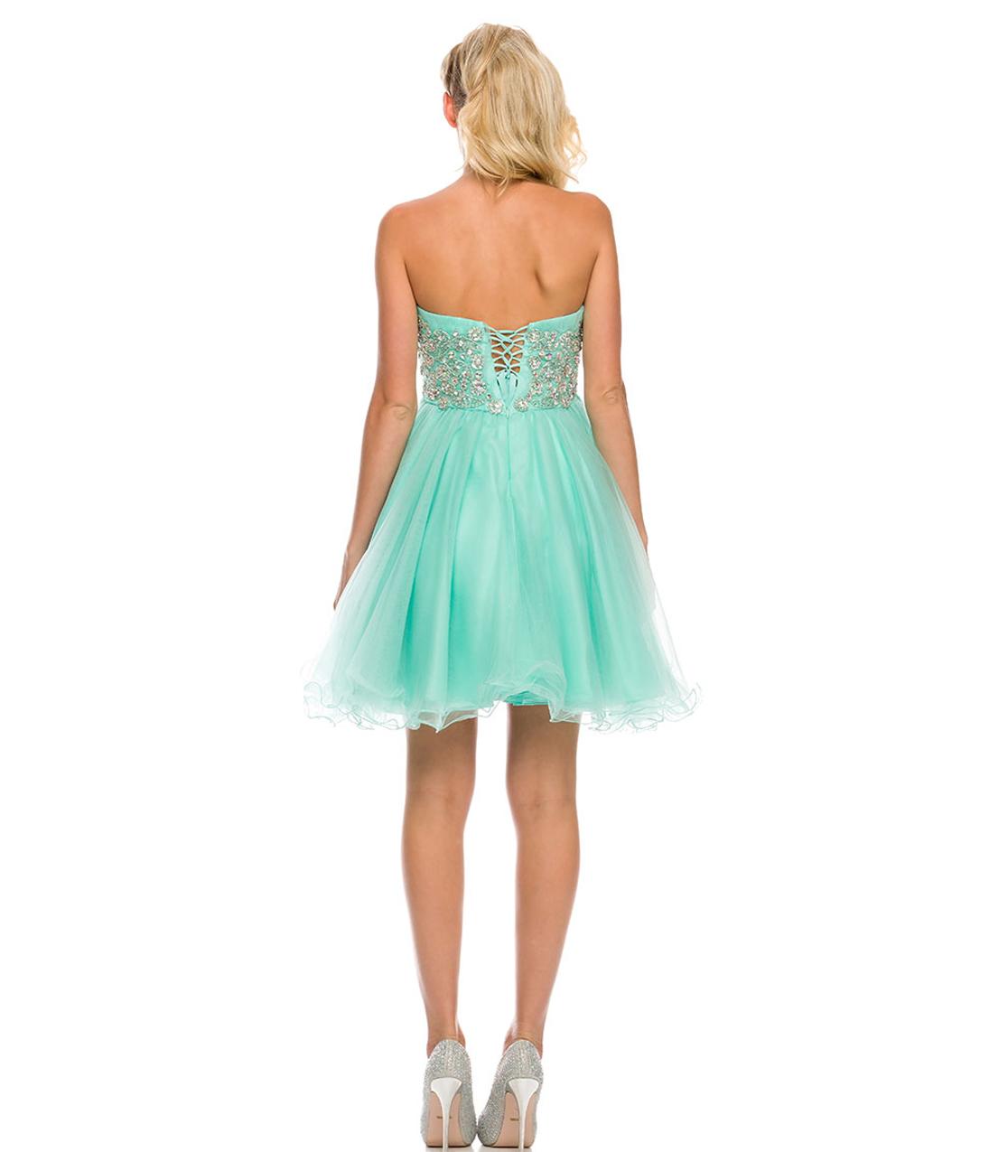 Strapless Sweetheart Crystal Embellished Short Prom Dress
