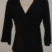 Black Long Sleeve Top with Tie in Front-Motherhood Maternity Size Medium