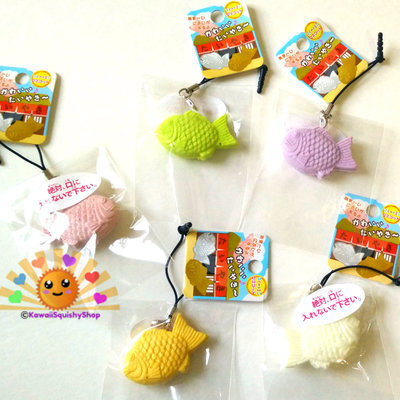 Mini fish rubber squishy squeezy toy with cell phone strap and cell phone jack