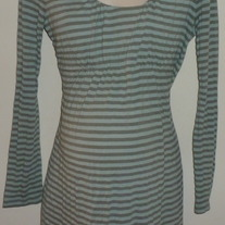 Green Stripe Long Sleeve Top-Mimi Maternity Size Large