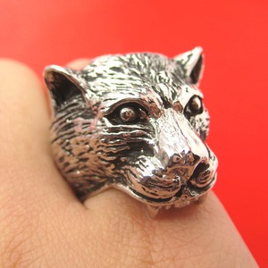 3D Adjustable Jaguar Leopard Tiger Animal Ring in Shiny Silver