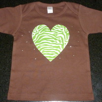 Brown Shirt with Green/White Heart and Rhinestones-NEW-Boutique Size 18-24 Months