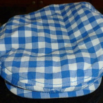 Blue/White Checked Hat- Size 12-24 Months