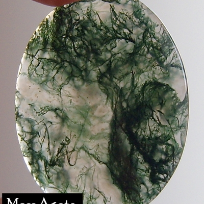 Moss agate oval cabachon