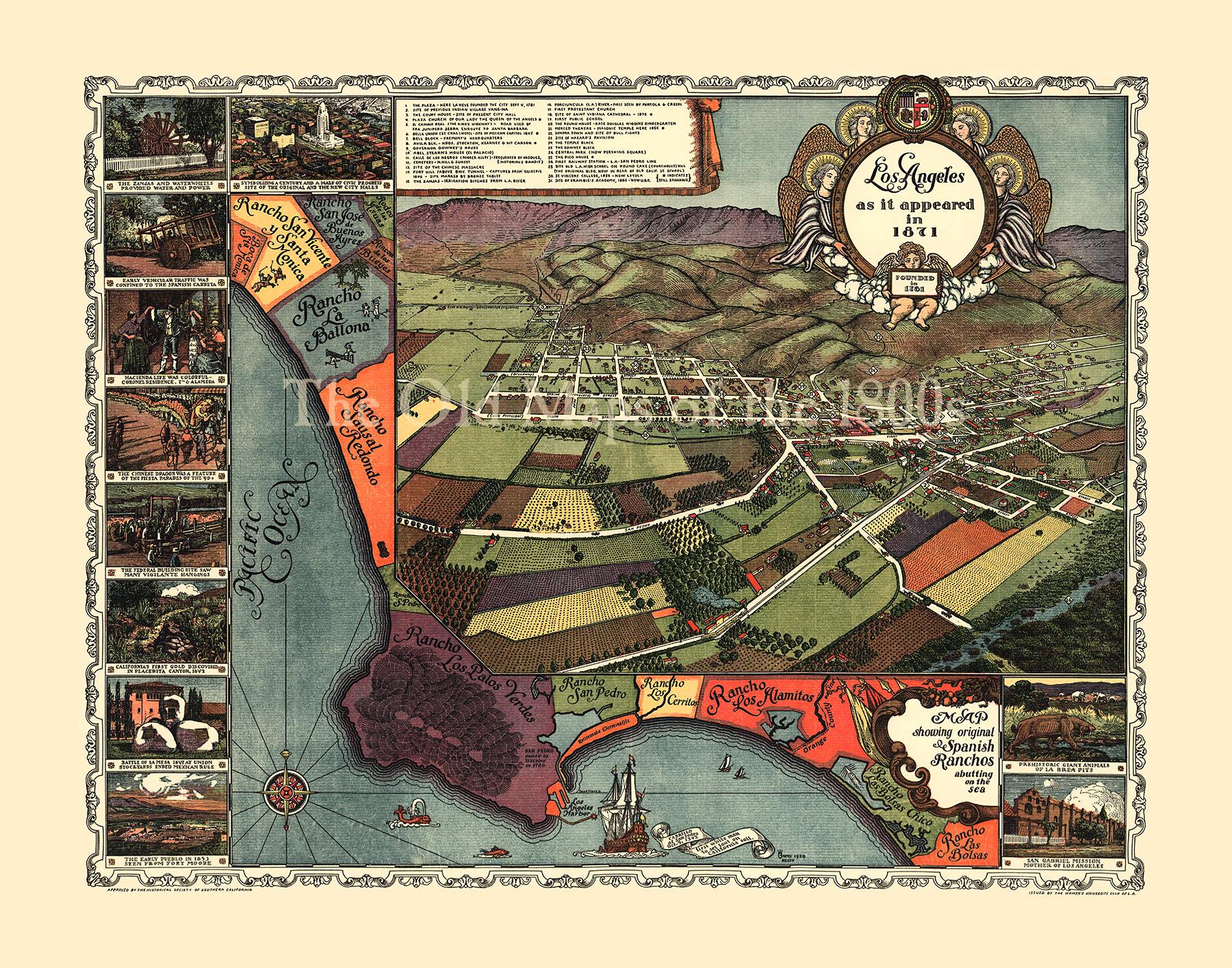 Los Angeles California As It Appeared In  Birds Eye View - Los angeles map vintage