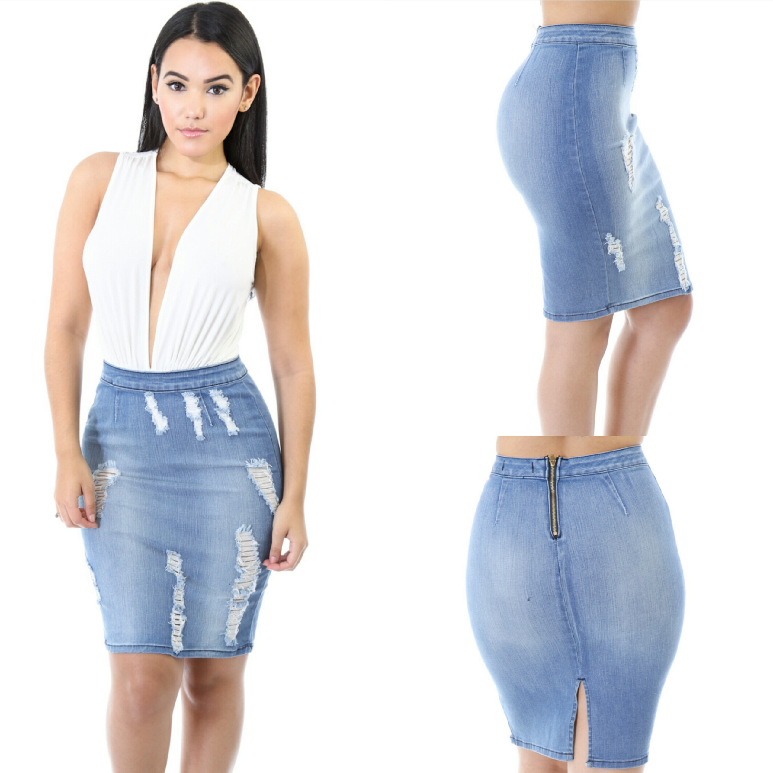 Ripped Denim Skirt · Simply Chic Style · Online Store Powered by