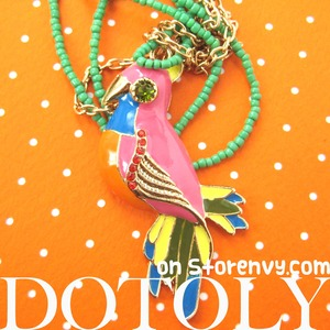 Colorful Parrot Bird Animal Charm Necklace with Beaded Detail