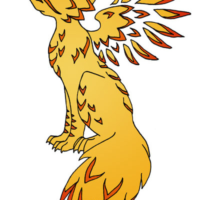 Mythical feathered phoenix fox- print