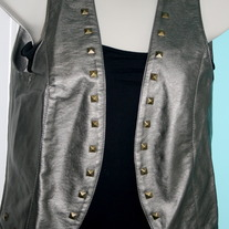 Gunmetal Leather Studded Vest