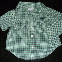 Green/Navy Checked Dress Shirt-Chaps Size 3 Months