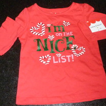 I'm on the Nice List Shirt-NEW-Jumping Beans Size 3T