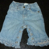 Denim Jeans with Ruffle at Bottom-The Children's Place Size 0-3 Months