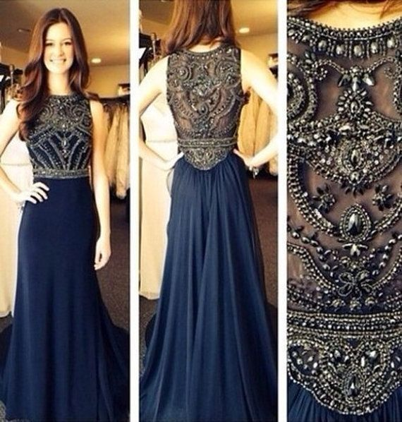 2015 Beach Wedding Guest Dress,Navy Blue Chiffon Sexy High Neck See Through  Beaded Prom
