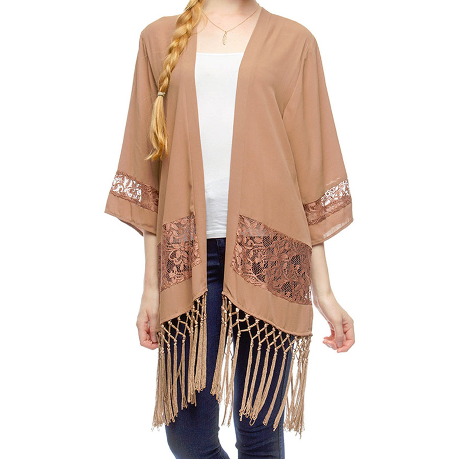 Light Mocha, Taupe Lace and Fringe Kimono Jacket, with Sheer Lace ...