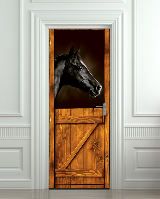 Door Sticker Horse Black Stall Zoo Mural Decole Film Self