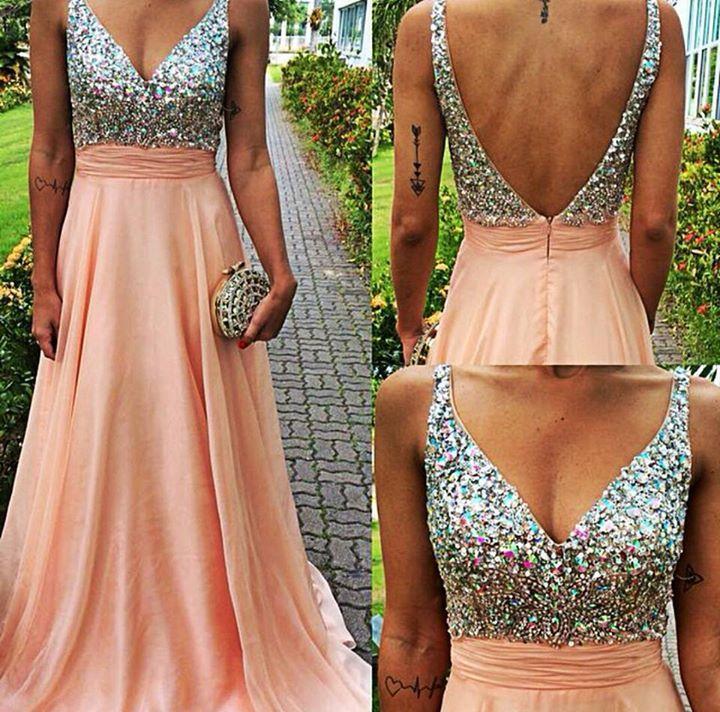 long prom dress, pink prom dress, v-neck prom dress, special ...
